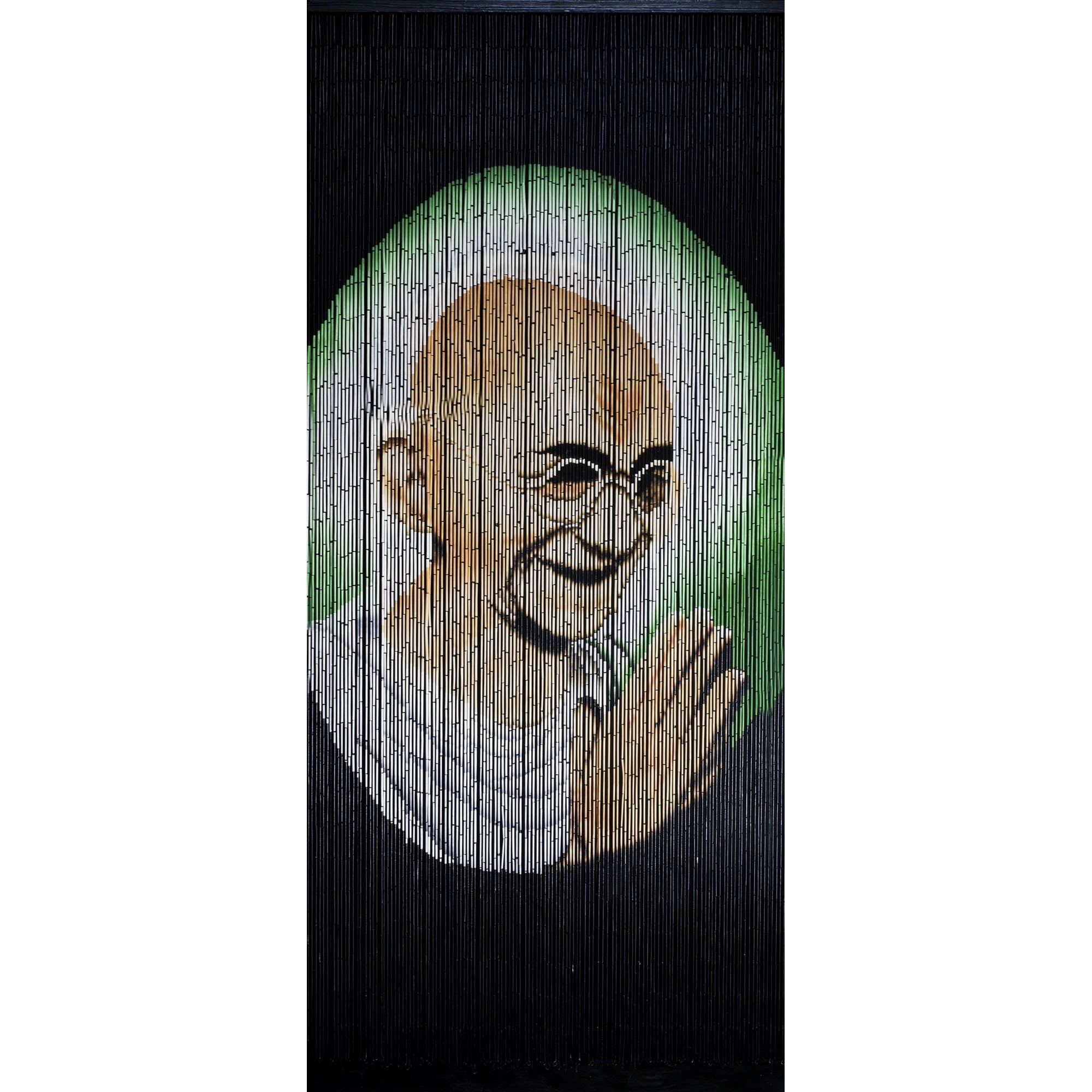 Bamboo Beaded Curtain Hand Painted - Gandhi
