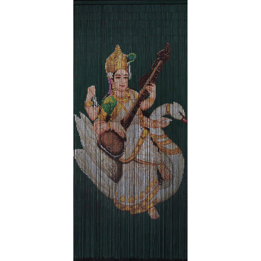 Bamboo Beaded Curtain Hand Painted - Saraswati