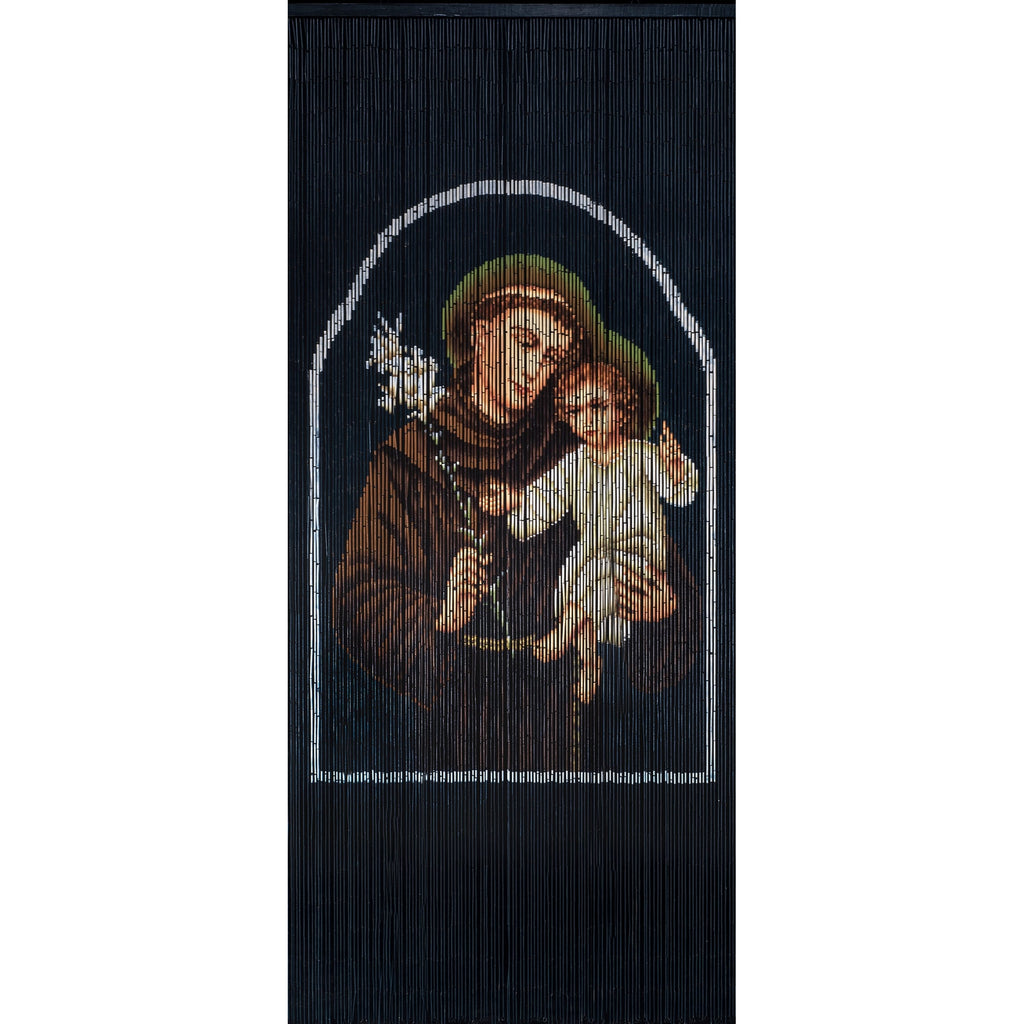 Bamboo Beaded Curtain Hand Painted - St. Anthony