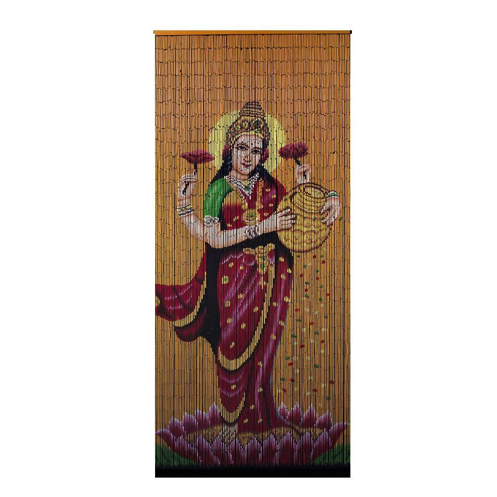 FINAL SALE Factory Second Bamboo Beaded Curtain - Lakshmi Gold
