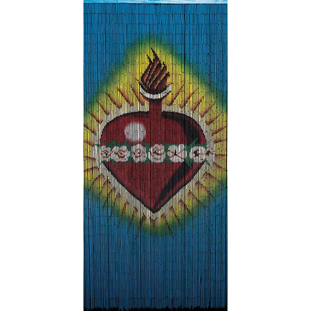 Bamboo Beaded Curtain Hand Painted-Sacred Heart
