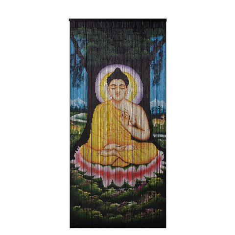 Bamboo Beaded Curtain Hand Painted-Buddha Bodhi