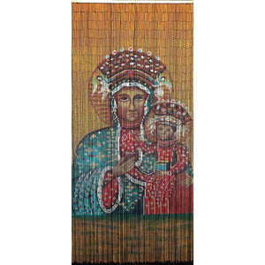 Bamboo Beaded Curtain Hand Painted-Black Madonna of Czestochowa