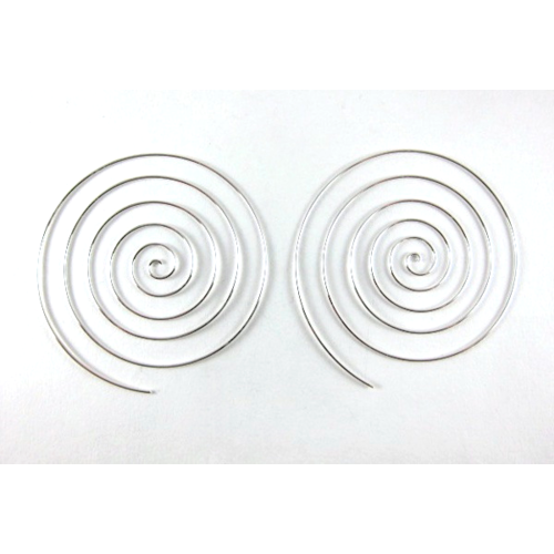 XL Spiral Sterling Silver 60mm Hoop Earrings