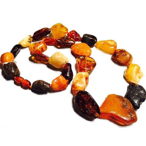 Amber Baltic Freeform Large Nugget Strand/Necklace