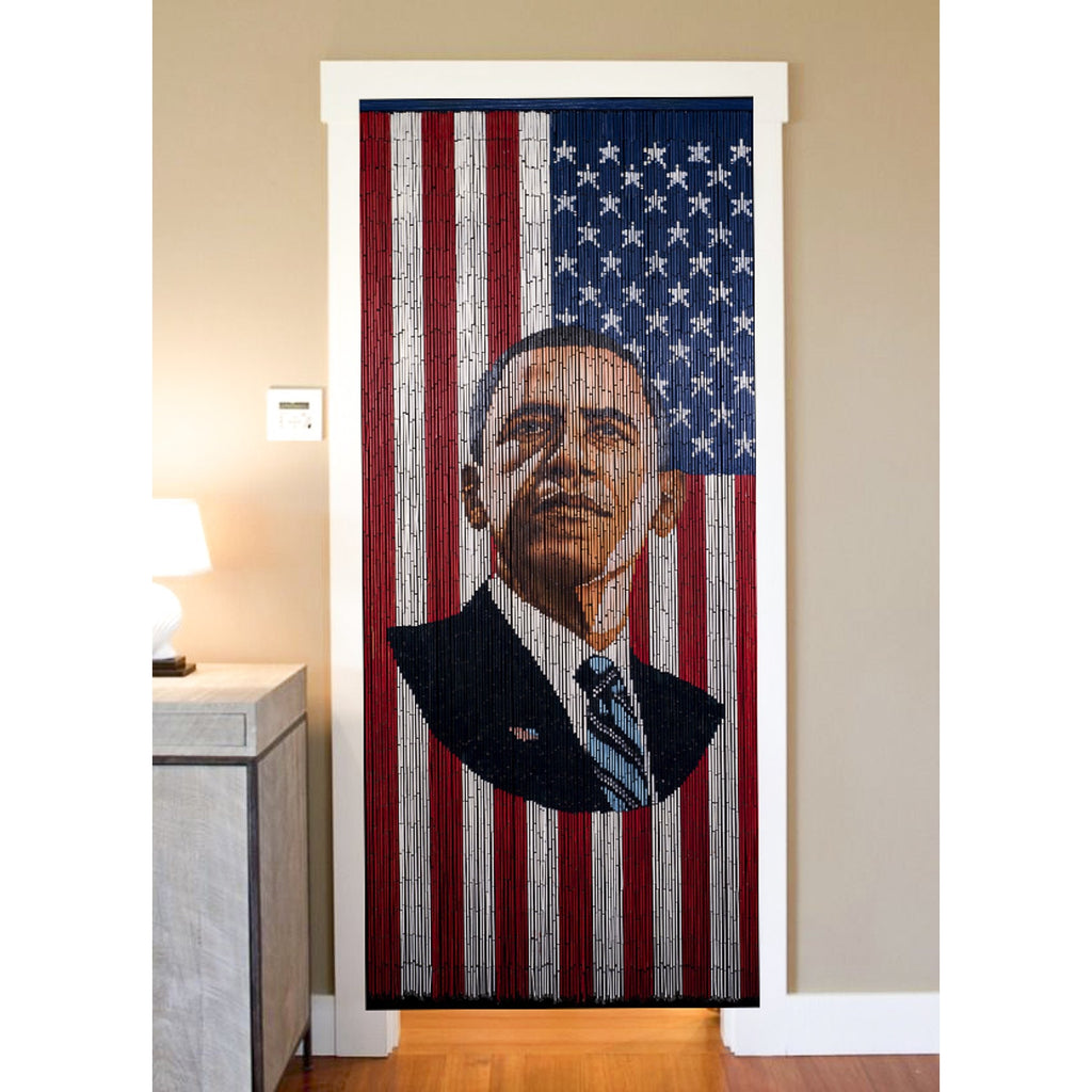 Bamboo Beaded Curtain Hand Painted - President Obama