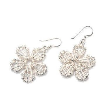 Sterling Silver Wire Mesh Daisy Earrings