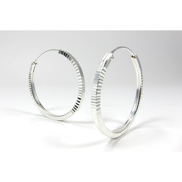 Sterling Silver Etched 31mm Hoop Earrings