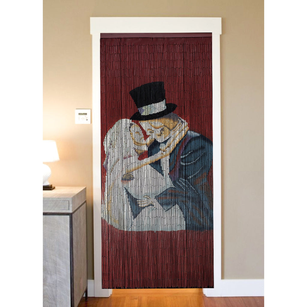 Bamboo Beaded Curtain Hand Painted - Skeleton Lovers