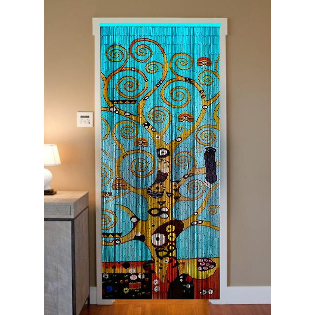Bamboo Beaded Curtain Hand Painted - Tree of Life