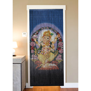 Bamboo Beaded Curtain Hand Painted-Dancing Ganesha