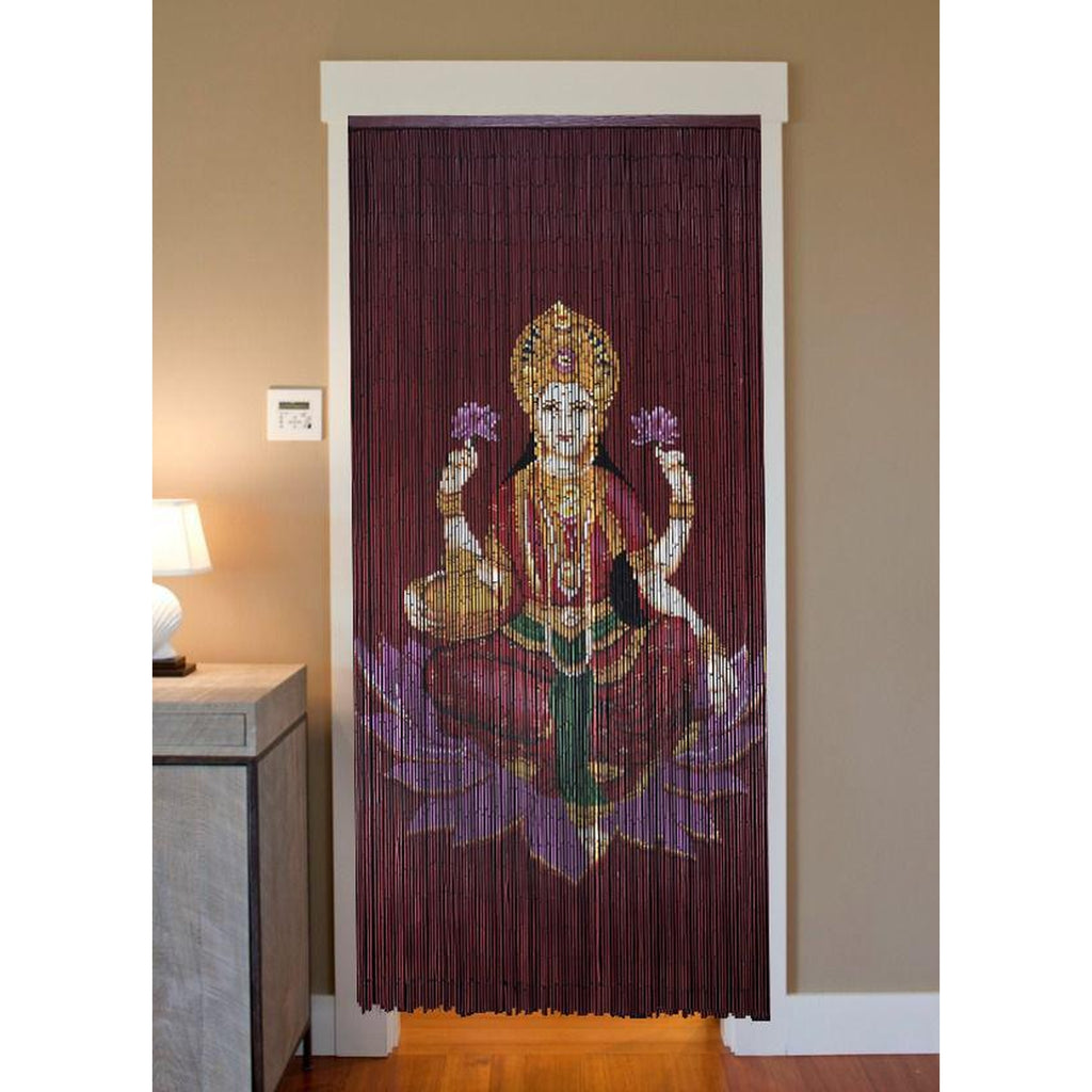 Bamboo Beaded Curtain Hand Painted-Lakshmi (R)