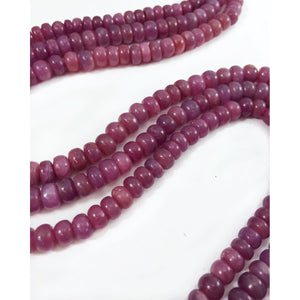 Pink Sapphire Smooth Rondelles 7mm Strand