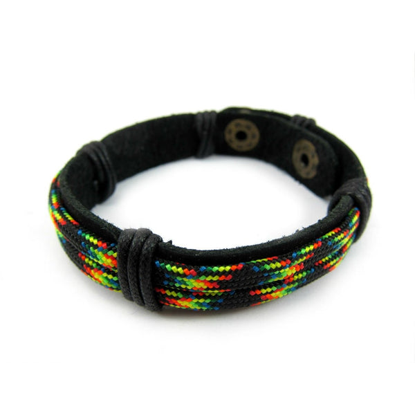 Leather Bracelet with Nylon Parachute Cord
