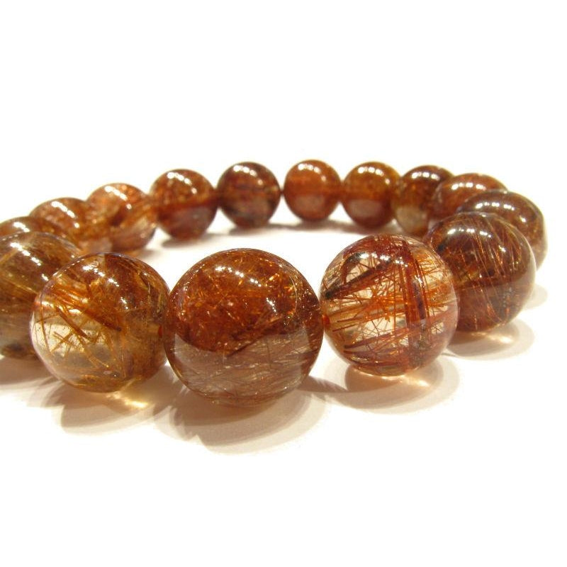 Brown Rutilated Quartz Rounds Stretch Bracelet 14mm