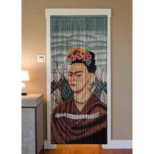 Bamboo Beaded Curtain Hand Painted-Frida Kahlo
