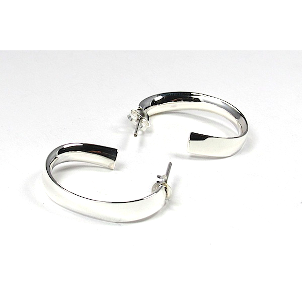 Slightly Twisted Hoop Sterling Silver Earrings with Post