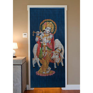 Bamboo Beaded Curtain Hand Painted - Krishna