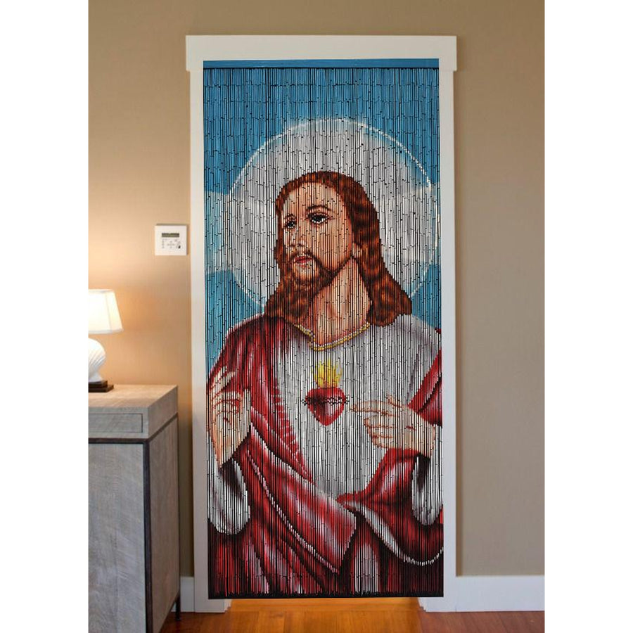 Bamboo Beaded Curtain Hand Painted-Jesus