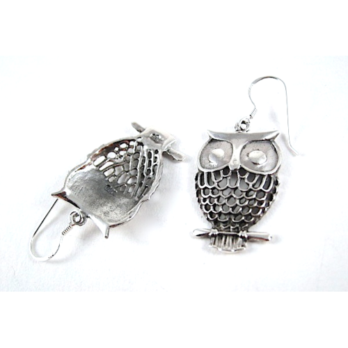 XL Owl Sterling Silver Earrings