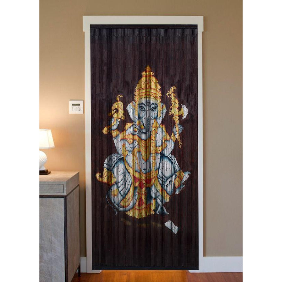 Bamboo Beaded Curtain Hand Painted-Ganesha (2)