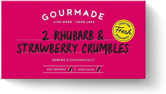 Gourmade rhubarb and strawberry crumbles