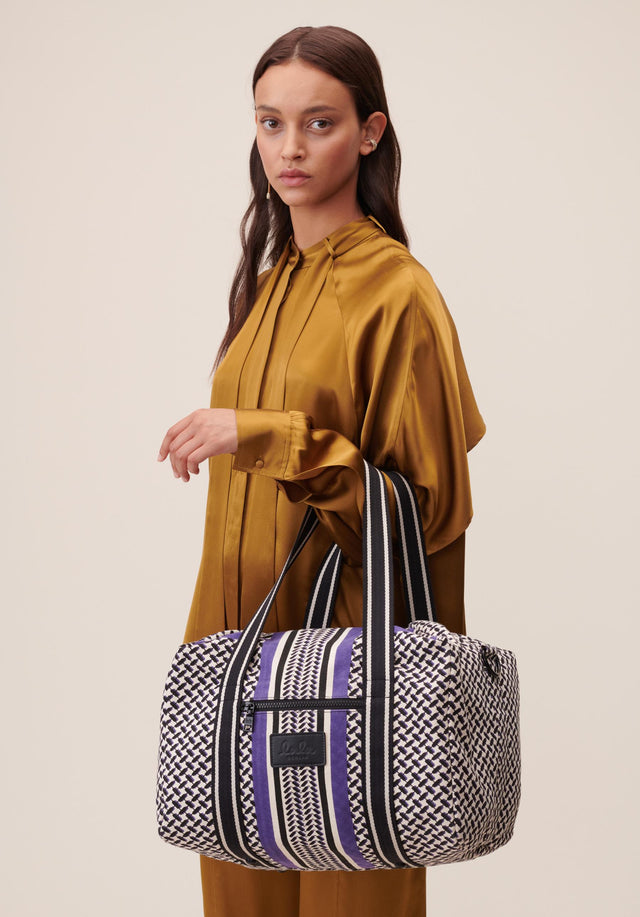Big Bag Muriel Colored Kufiya Purple - Muriel Colored, ein geräumiger Weekender, gefertigt aus offwhite Canvas mit... - 2/11