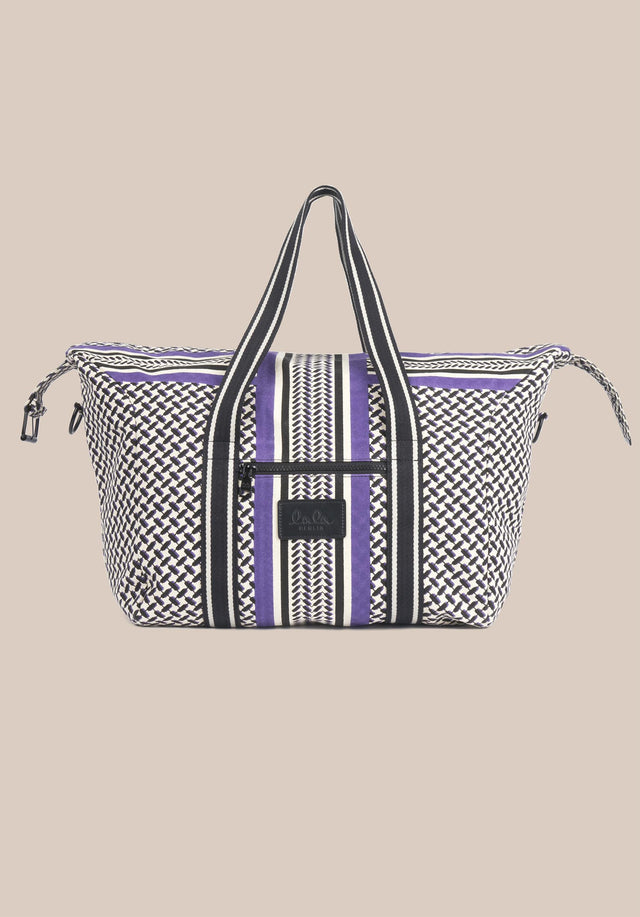 Big Bag Muriel Colored Kufiya Purple - Muriel Colored, ein geräumiger Weekender, gefertigt aus offwhite Canvas mit... - 5/11