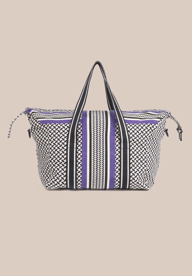 Big Bag Muriel Colored Kufiya Purple - Muriel Colored, ein geräumiger Weekender, gefertigt aus offwhite Canvas mit... - 6/11