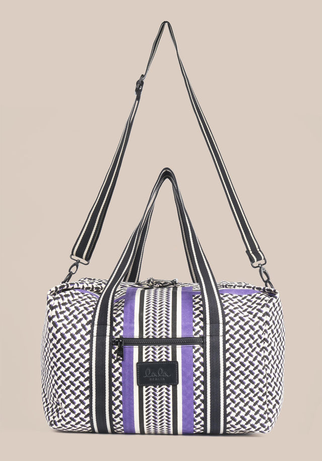 Big Bag Muriel Colored Kufiya Purple - Muriel Colored, ein geräumiger Weekender, gefertigt aus offwhite Canvas mit... - 8/11