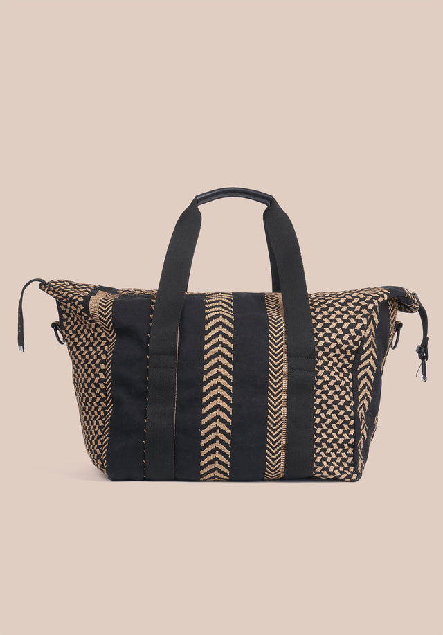 Big Bag Muriel X-Stitch Kufiya X-Stitch - A roomy weekender with intricately crafted Kufiya Crossstitch on black... - 6/11