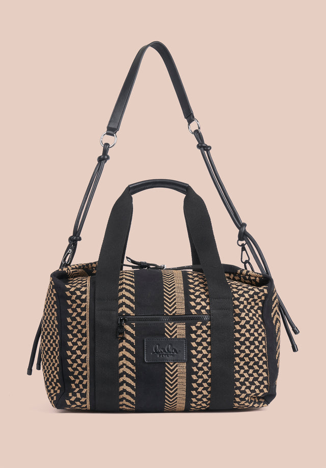 Big Bag Muriel X-Stitch Kufiya X-Stitch - A roomy weekender with intricately crafted Kufiya Crossstitch on black... - 7/11