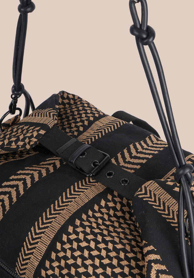 Big Bag Muriel X-Stitch Kufiya X-Stitch - A roomy weekender with intricately crafted Kufiya Crossstitch on black... - 8/11