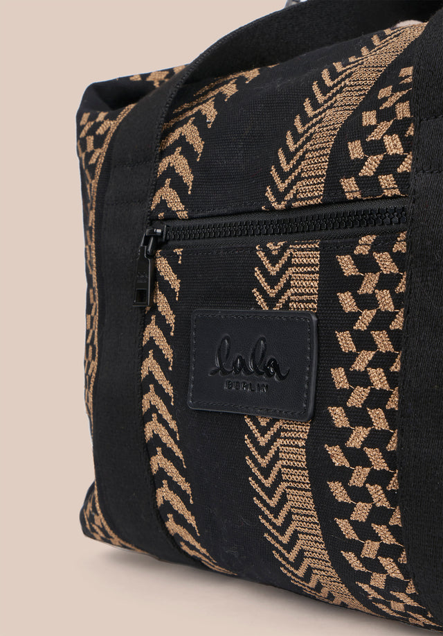 Big Bag Muriel X-Stitch Kufiya X-Stitch - A roomy weekender with intricately crafted Kufiya Crossstitch on black... - 9/11