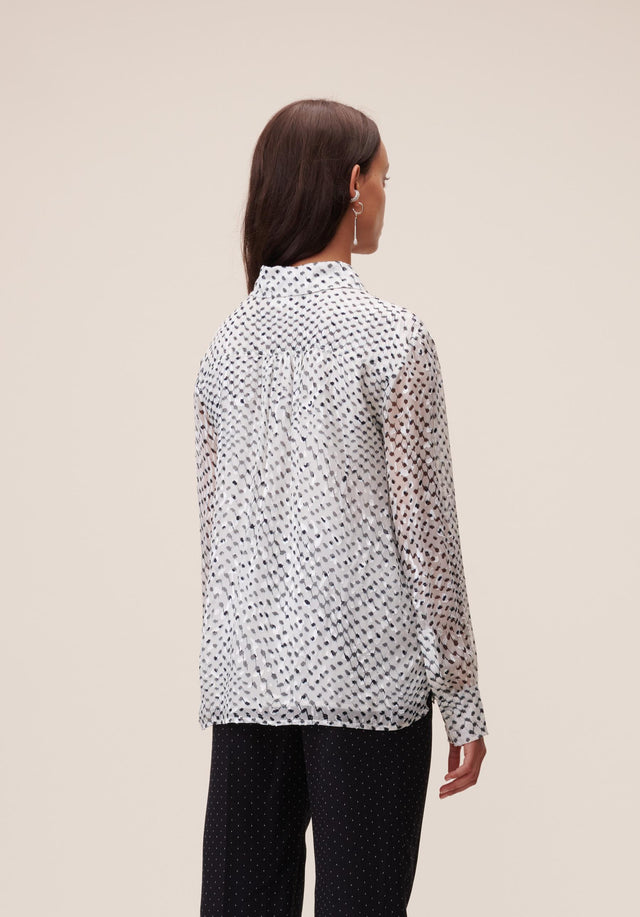 Blouse Beliz Polka Kufiya White - A classic shirt blouse made of energetically printed devoré, with... - 3/7