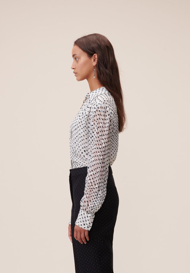 Blouse Beliz Polka Kufiya White - A classic shirt blouse made of energetically printed devoré, with... - 2/7