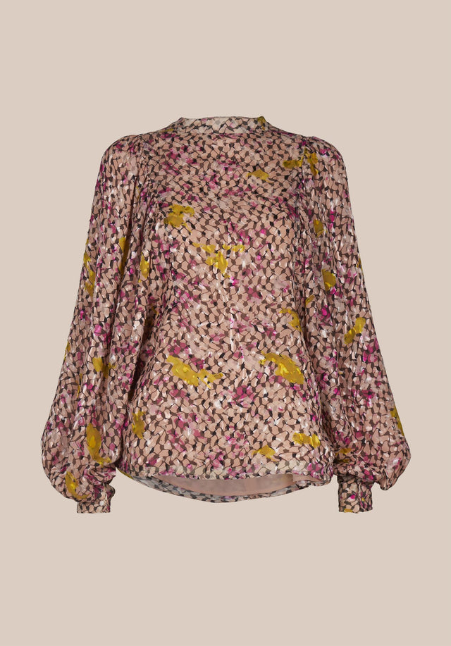 Blouse Bellami Kufiya Cosmos Pink - An extravagant blouse made of silk-viscose-devoré, featuring our Kufiya Cosmos... - 6/6