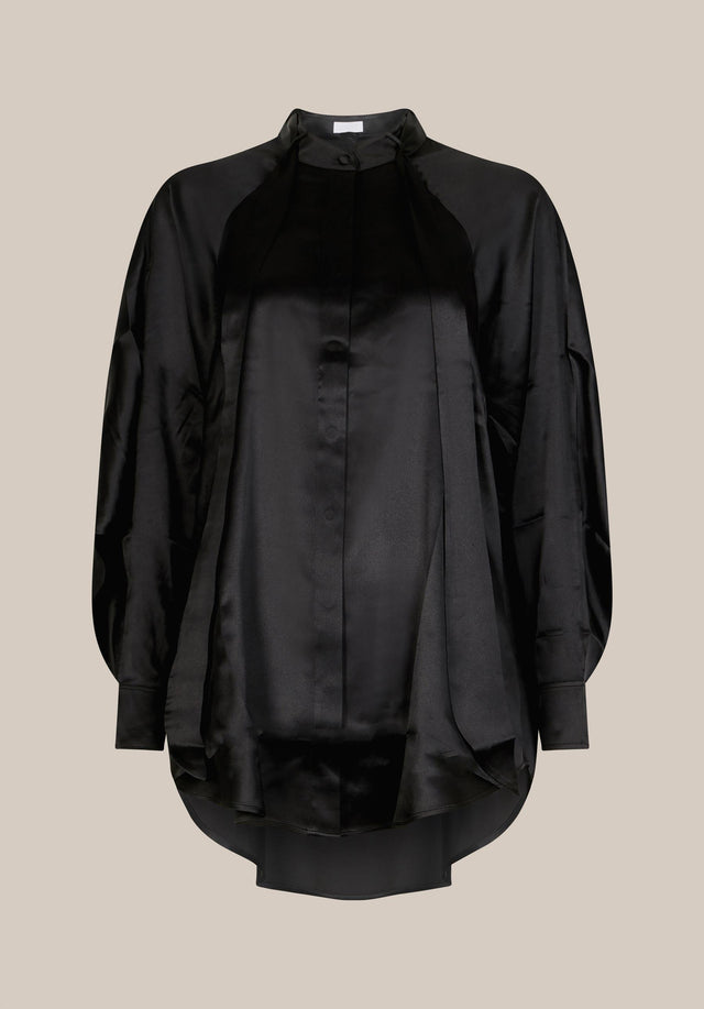 Blouse Bianka Black - An oversized blouse made of billowing classic black silk with...