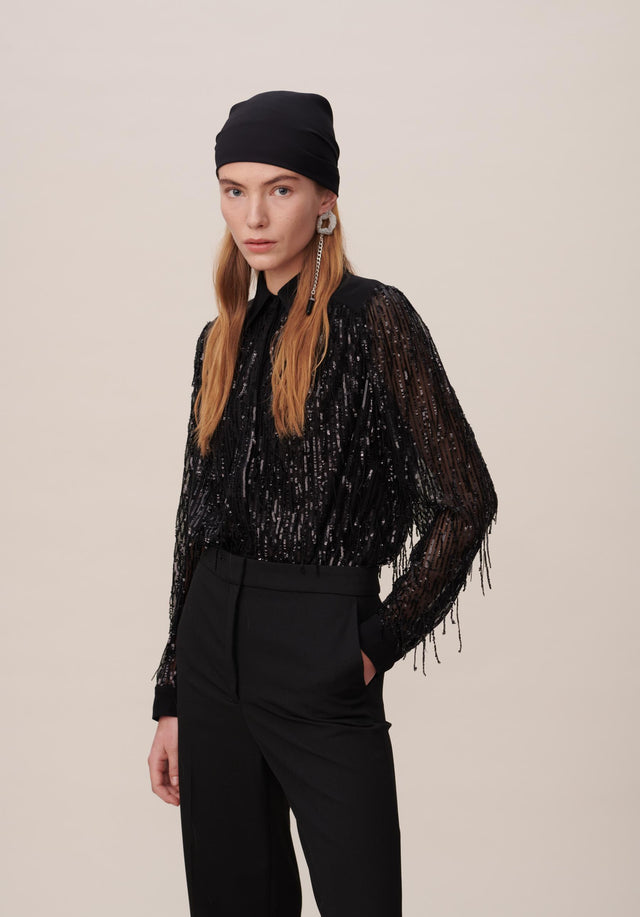 Blouse Bling Black - An extravagant shirt blouse with a hint of cowgirl and...