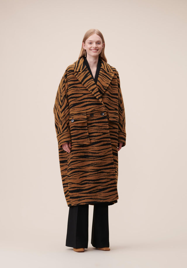 Coat Cirah Animal Bronze Zebra Wool - An oversized wool-blend coat with batwing sleeves, featuring our vibrant...