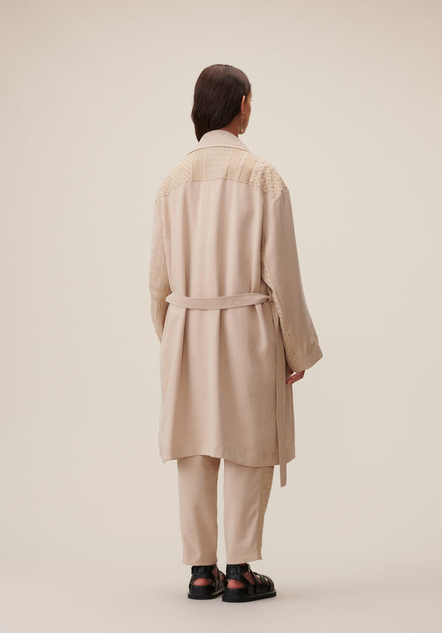Coat Cleo Kufiya Embroidery - A lightweight trench coat in soft beige made of modal... - 3/5