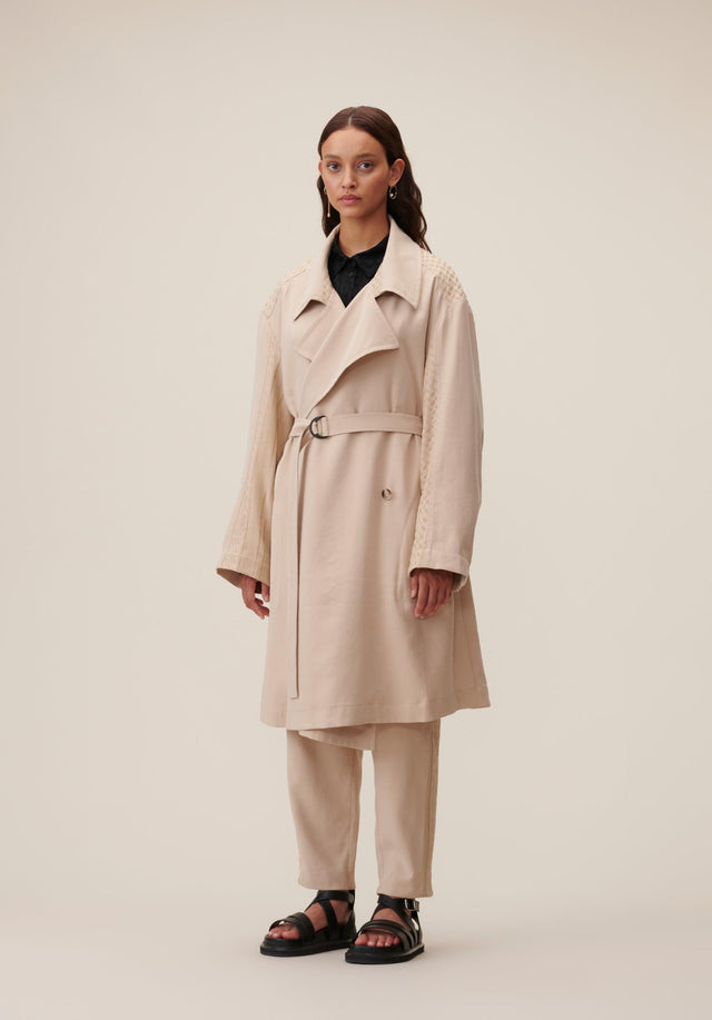 Coat Cleo Kufiya Embroidery - A lightweight trench coat in soft beige made of modal... - 4/5