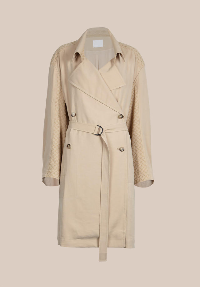 Coat Cleo Kufiya Embroidery - A lightweight trench coat in soft beige made of modal... - 5/5