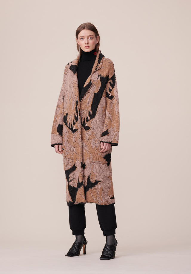 Coat Kielo Black Falcon - A rich cotton-wool-blend coat with an abstract jacquard pattern in...