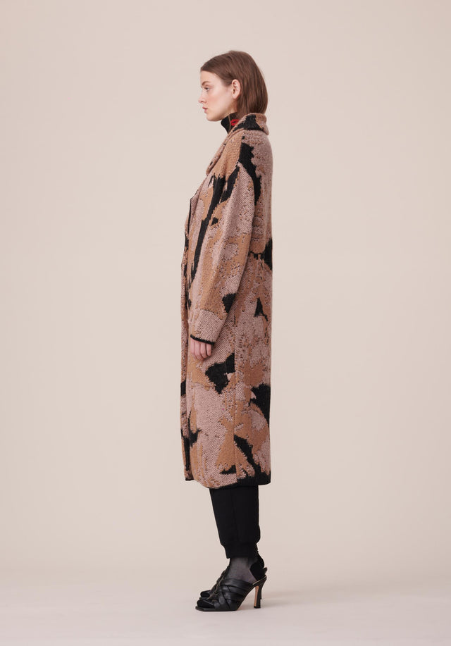 Coat Kielo Black Falcon - A rich cotton-wool-blend coat with an abstract jacquard pattern in... - 2/8