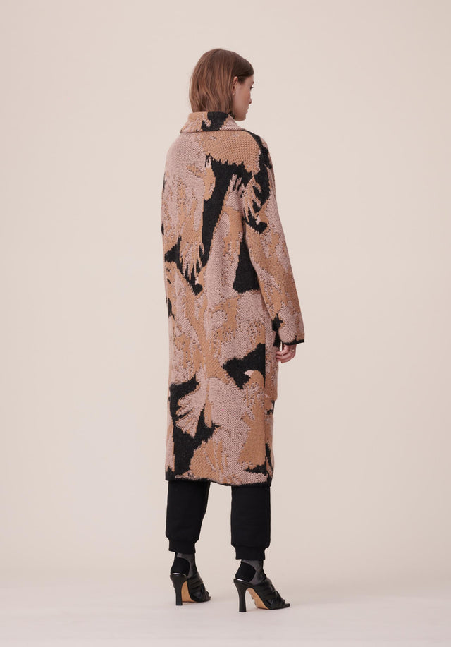 Coat Kielo Black Falcon - A rich cotton-wool-blend coat with an abstract jacquard pattern in... - 3/8