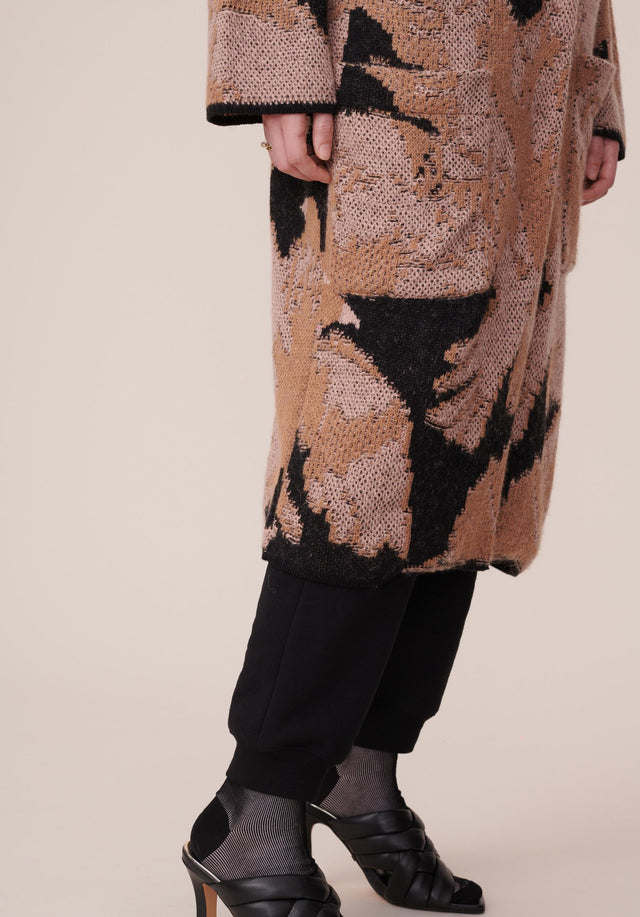 Coat Kielo Black Falcon - A rich cotton-wool-blend coat with an abstract jacquard pattern in... - 4/8