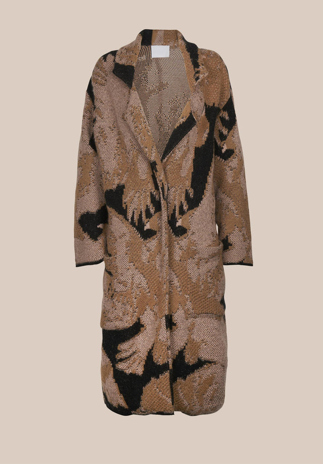Coat Kielo Black Falcon - A rich cotton-wool-blend coat with an abstract jacquard pattern in... - 8/8