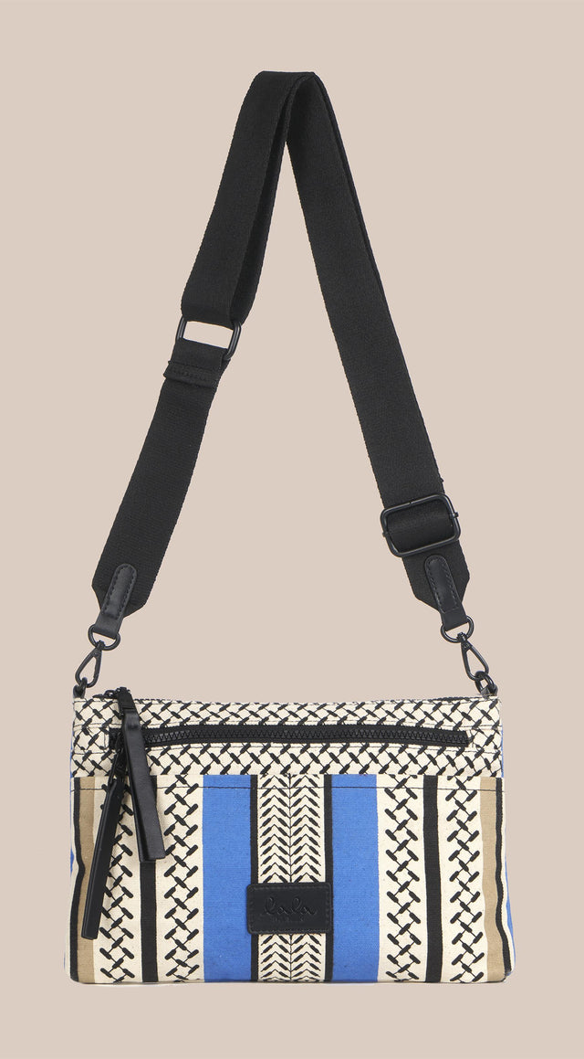 Crossbody Zabiana Colored Palace Blue and Warm Sand - A casual shoulder bag, featuring a Kufiya print with colour-block... - 5/6