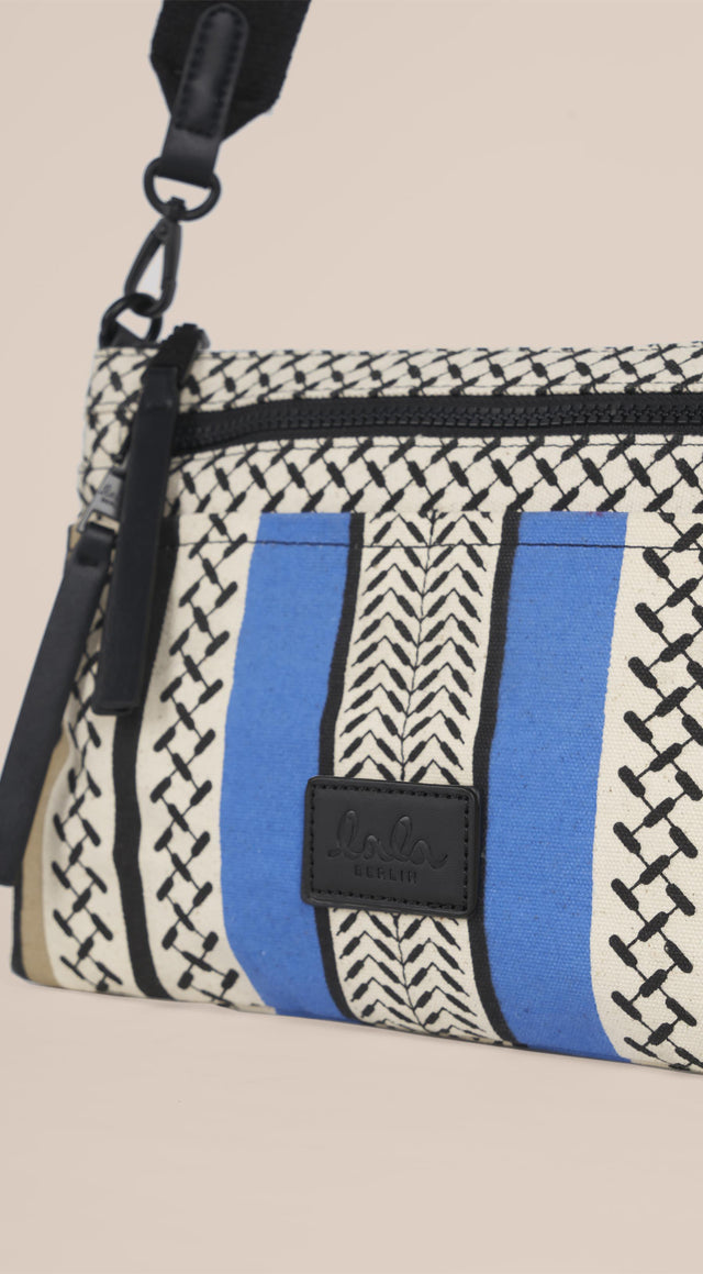 Crossbody Zabiana Colored Palace Blue and Warm Sand - A casual shoulder bag, featuring a Kufiya print with colour-block... - 6/6